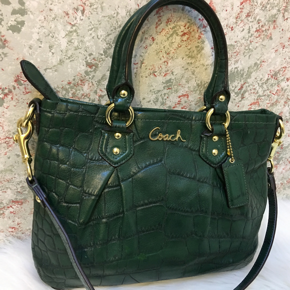 Coach Handbags - COACH Forest Green Croco ASHLEY Mini Tote XBody